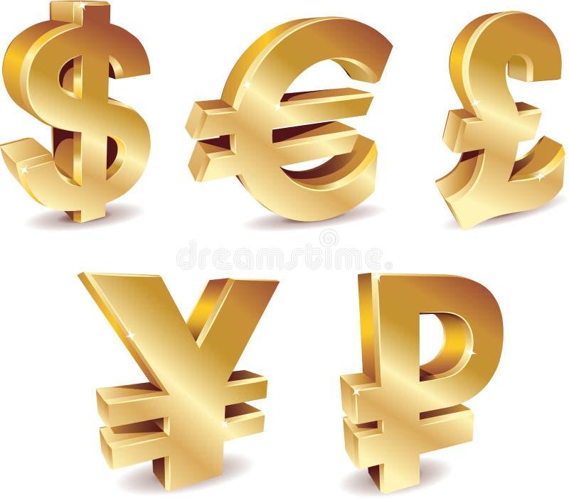 Símbolos de moeda ilustração royalty free