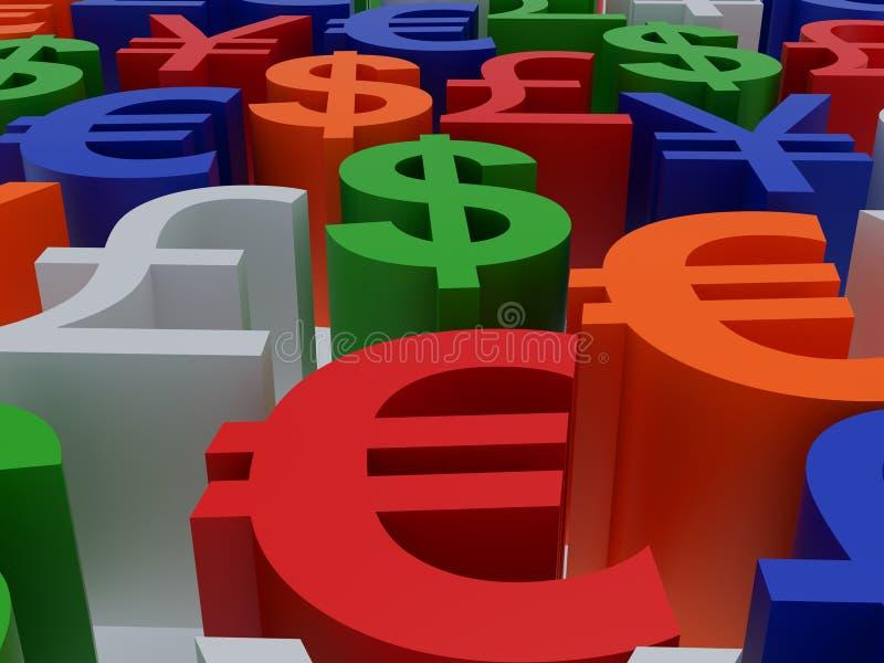 Símbolos de moeda ilustração stock