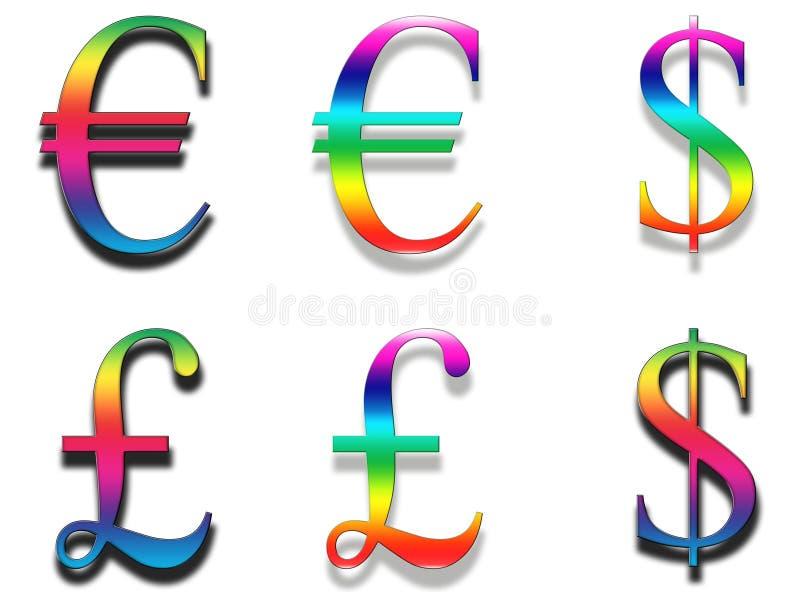 Símbolos de moeda do arco-íris ilustração do vetor