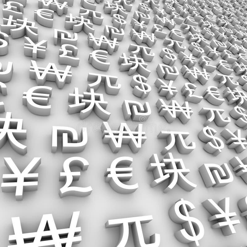 Símbolos de moeda globais - branco ilustração do vetor