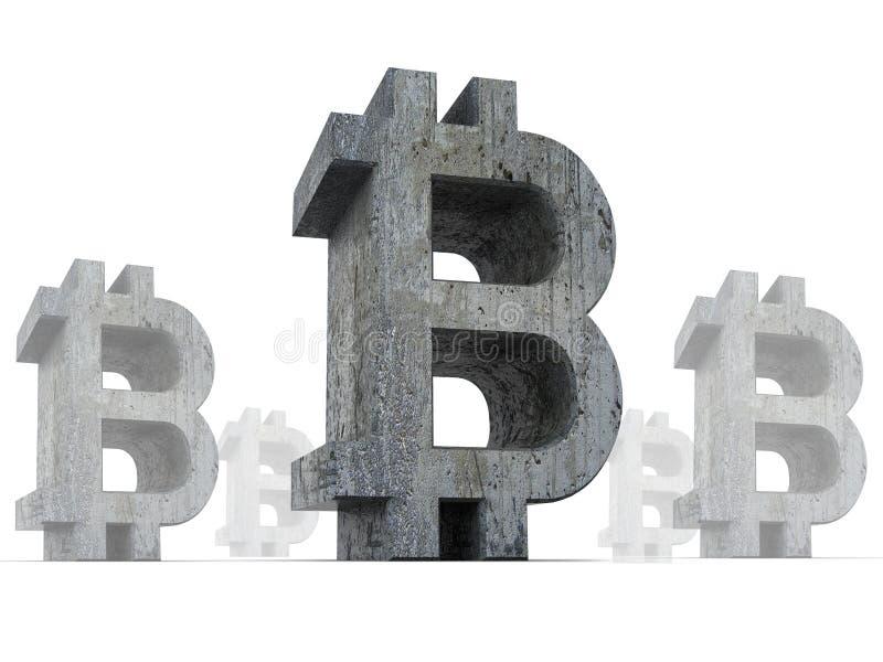 Símbolos de moneda crypto de Bitcoin, con la vieja textura áspera oscura aislada en el fondo blanco, concepto de la crisis del bi stock de ilustración