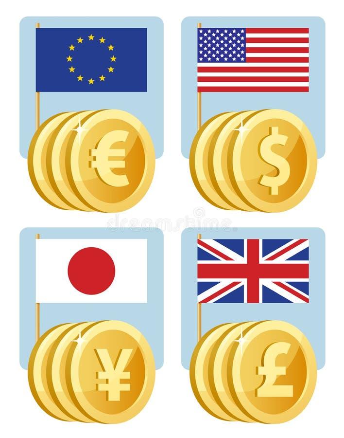 Símbolos de moneda: euro, dólar, yen, libra esterlina Banderas del th stock de ilustración