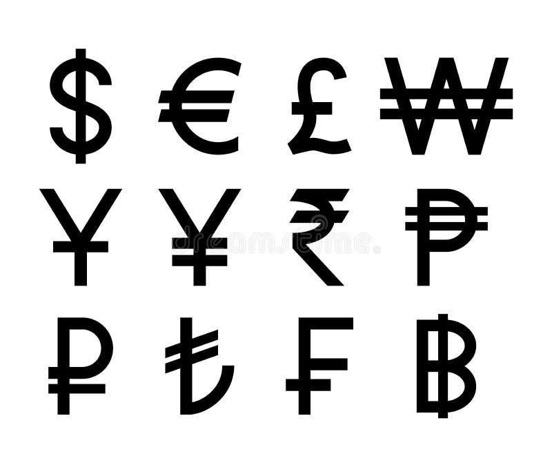 Símbolos de monedas populares de los países Iconos aislados negro de la moneda ilustración del vector