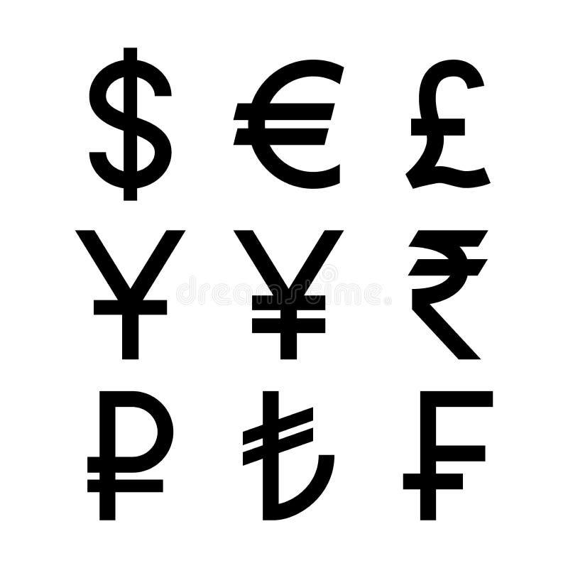 Símbolos de monedas populares de los países Iconos aislados negro de la moneda libre illustration