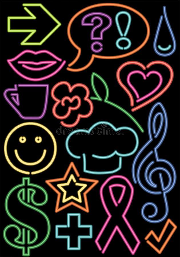 Símbolos de néon ilustração royalty free