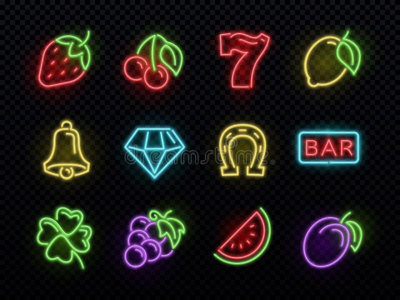 Símbolos de néon brilhantes do vetor do slot machine Ícones de jogo claros do casino ilustração stock
