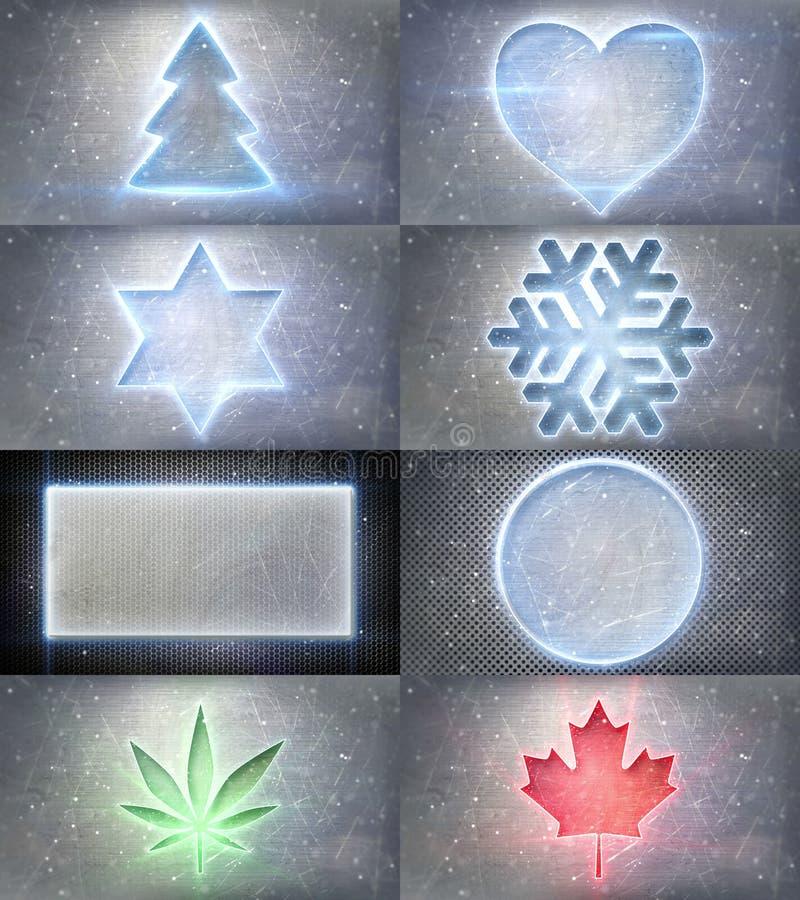Símbolos de neón de la Navidad que brillan intensamente ilustración del vector