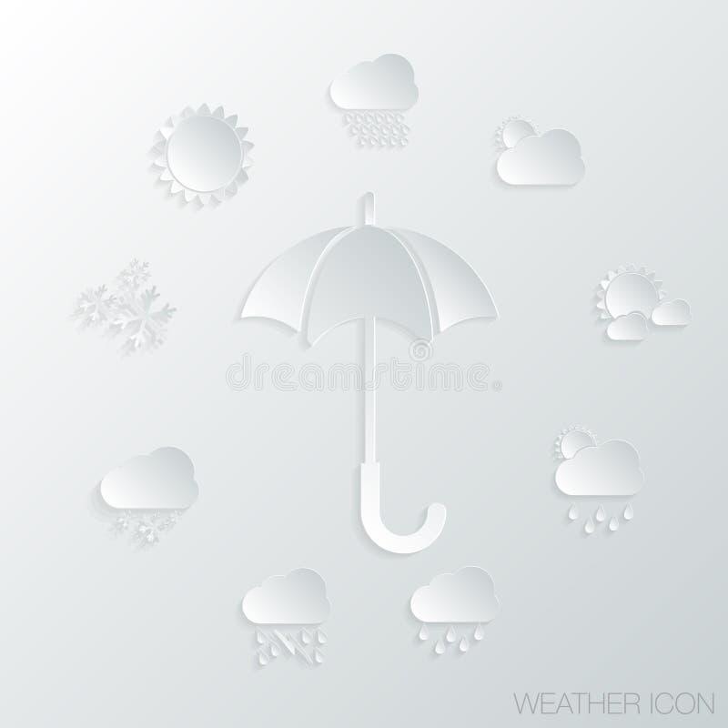 Download Símbolos De Papel Del Icono, Del Paraguas Y De Tiempo Ilustración del Vector - Ilustración de protección, abrigo: 41905883
