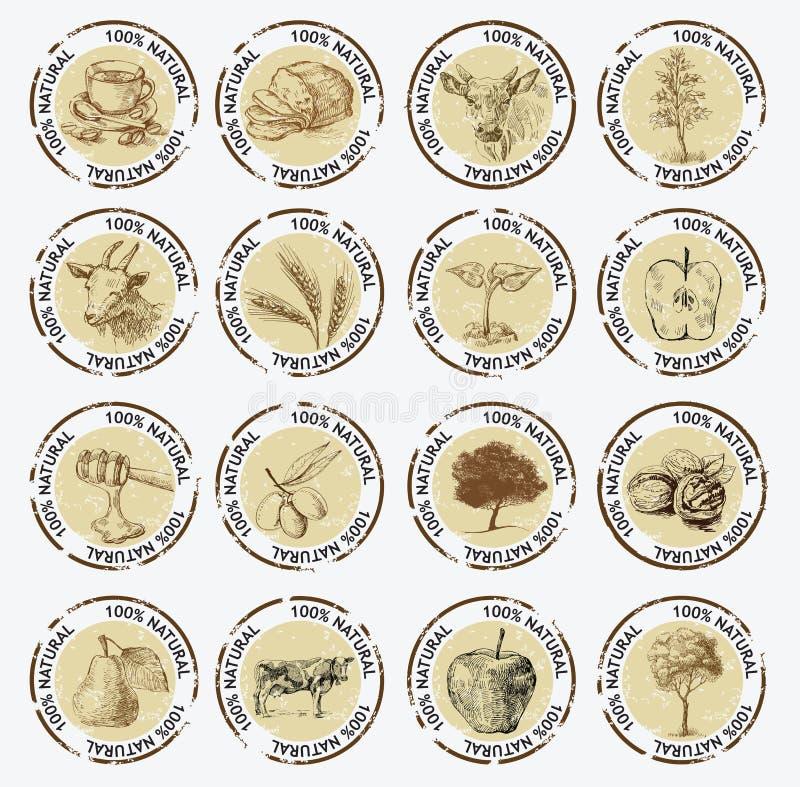 Símbolos de produtos naturais ilustração do vetor