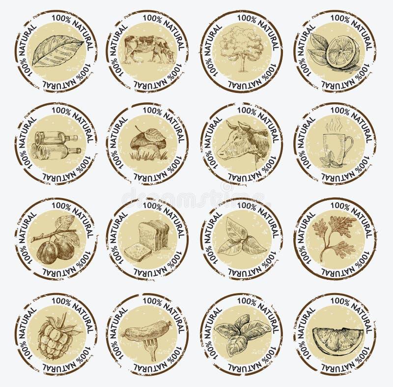 Símbolos de produtos naturais ilustração royalty free