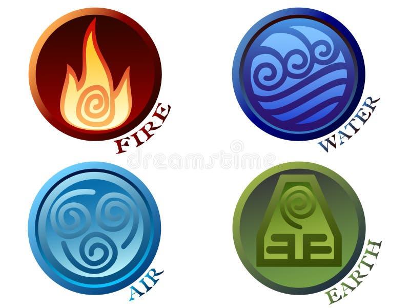 Símbolos de quatro elementos ilustração do vetor