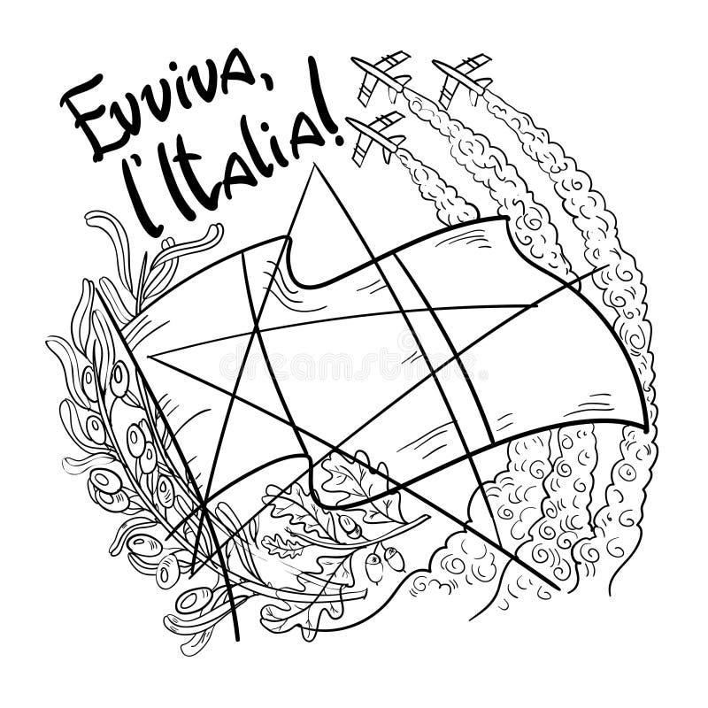 Símbolos de setas tricolour do tricolori de Italia Frecce no céu, no ramo de oliveira, no carvalho, na bandeira e na estrela Ilus imagens de stock royalty free
