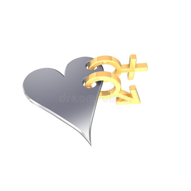 Símbolos de sexo do ouro lig com o coração. ilustração royalty free