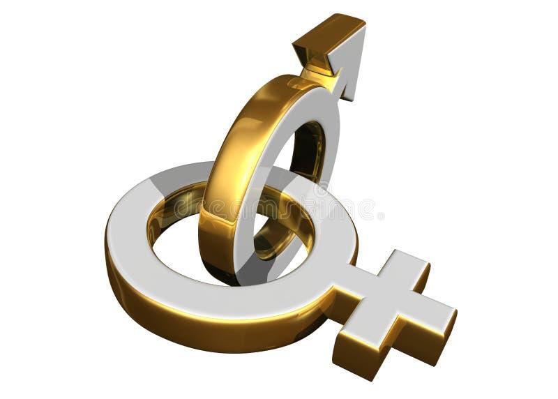 Símbolos de sexo masculino e fêmea ilustração stock