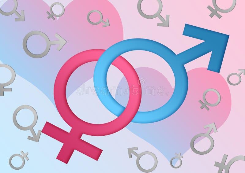 Símbolos de sexo masculino y femenino libre illustration