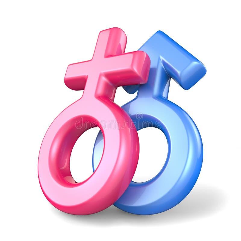 Símbolos de sexo masculinos fêmeas e azuis cor-de-rosa Símbolos de Marte e de Venus 3 ilustração royalty free