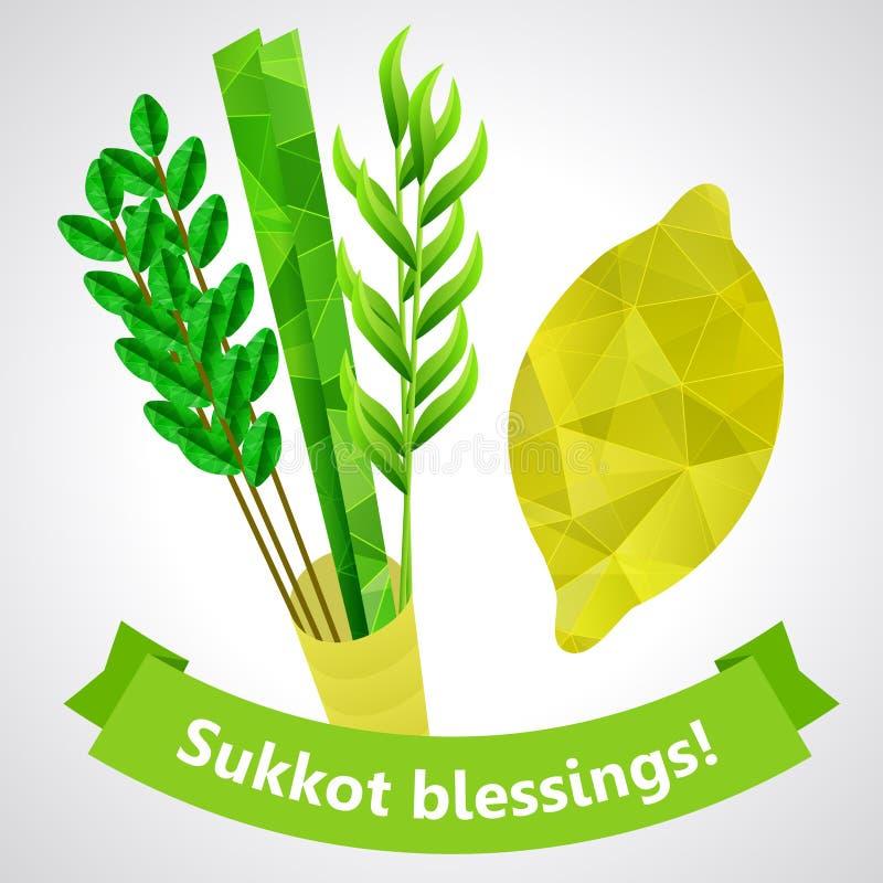 Símbolos de Sukkot - quatro espécies - palma, salgueiro, murta, etrog ilustração royalty free