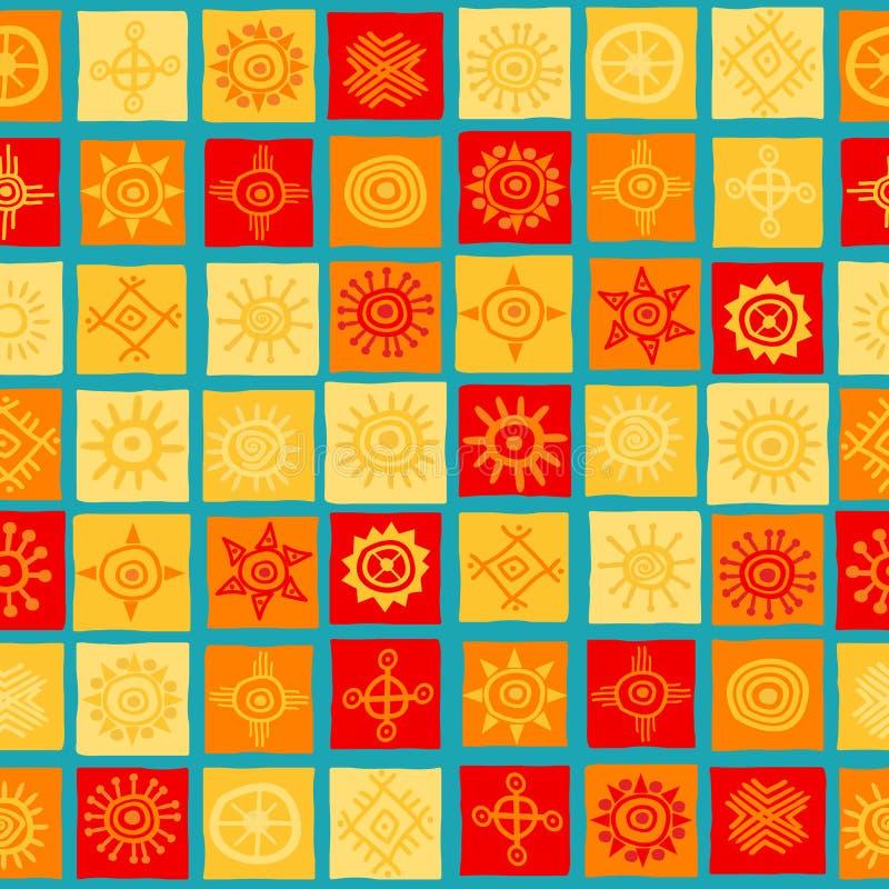 Símbolos de Sun no fundo sem emenda dos quadrados ilustração royalty free