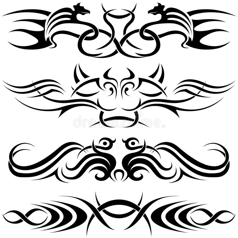 Símbolos de Tatoo ilustração royalty free