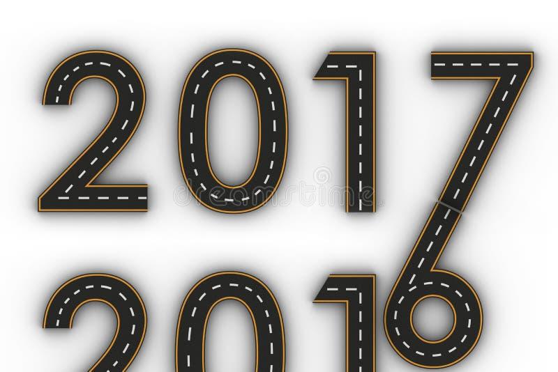 Símbolos del Año Nuevo 2017 de las figuras bajo la forma de camino con la línea marcas blanca y amarilla ilustración del vector