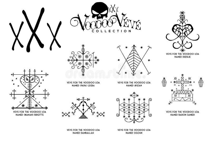 Símbolos del alcohol del vudú stock de ilustración