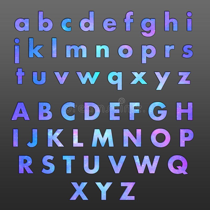 Símbolos del alfabeto con las estrellas fotos de archivo
