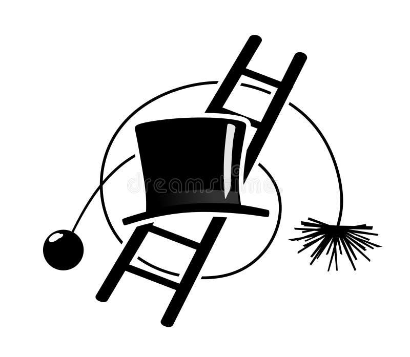 Símbolos del barrendero de la chimenea ilustración del vector
