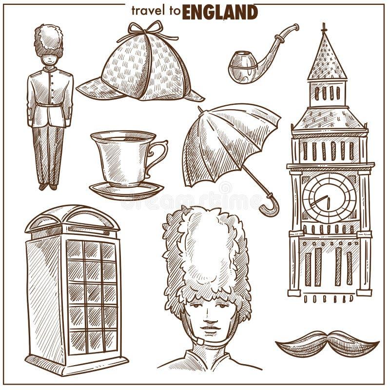 Símbolos del bosquejo del vector del turismo del viaje de Inglaterra libre illustration