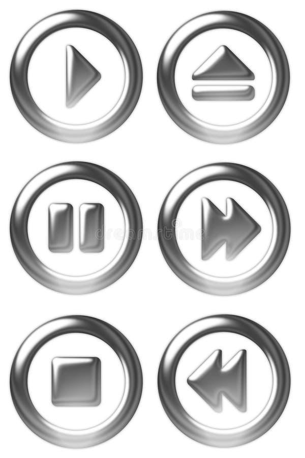 Símbolos del botón del jugador ilustración del vector