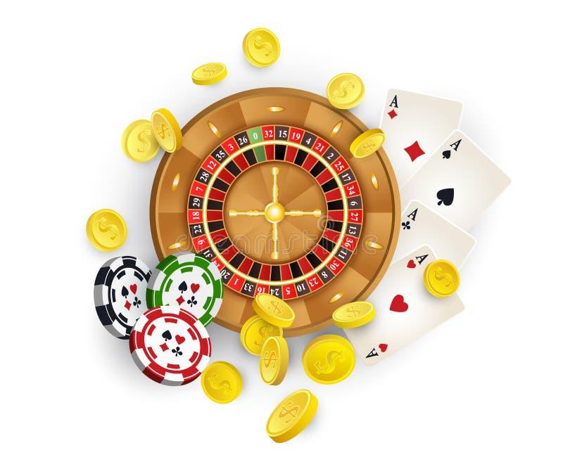 Símbolos del casino - ruleta, microprocesadores, tarjetas, monedas stock de ilustración