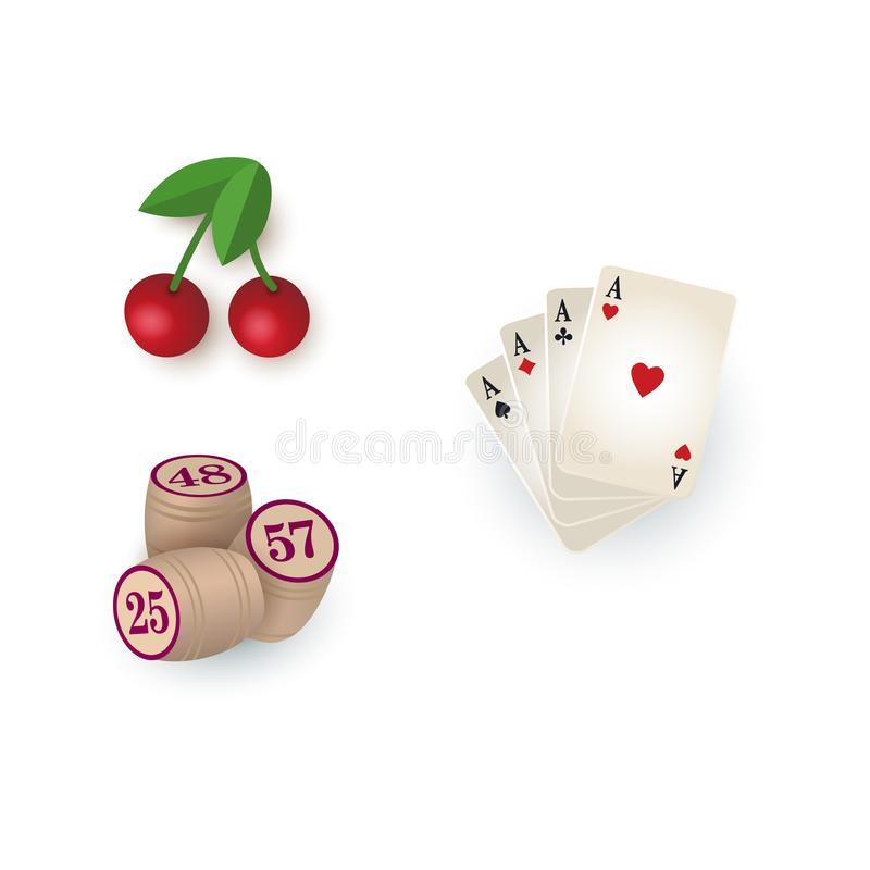 Símbolos del casino - tarjetas, barriletes del bingo, cereza del bote libre illustration