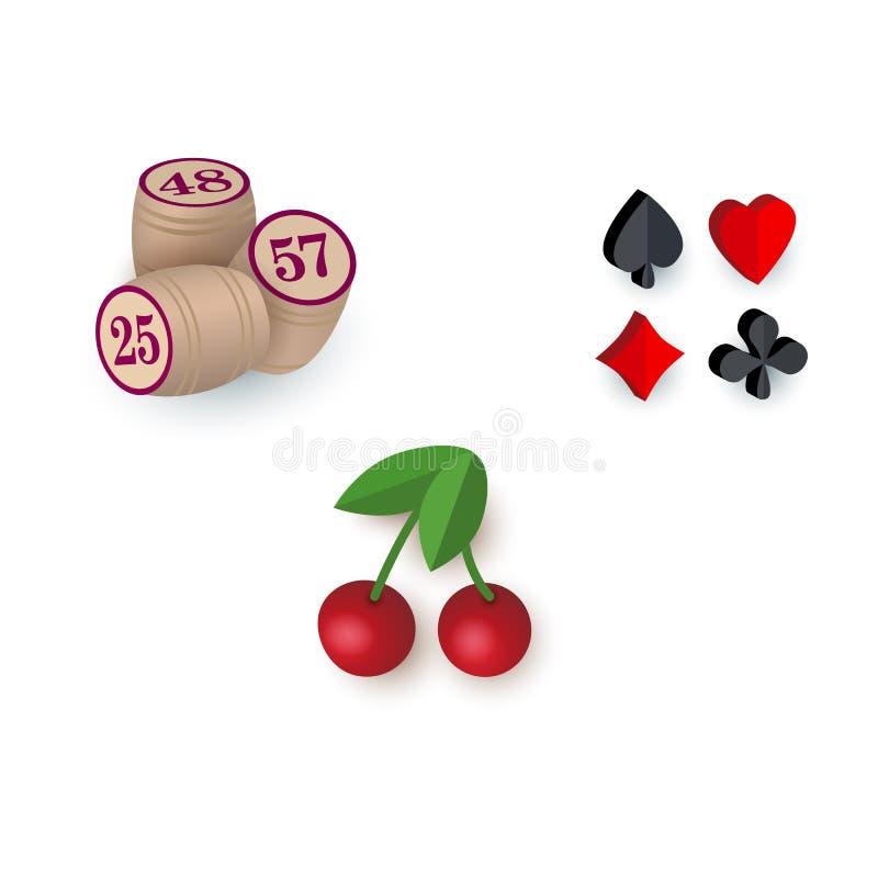 Símbolos del casino - trajes, barriletes del bingo, cereza del bote libre illustration