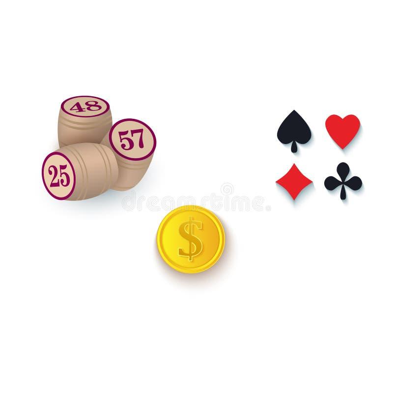 Símbolos del casino - trajes, barriletes del bingo, moneda de oro ilustración del vector