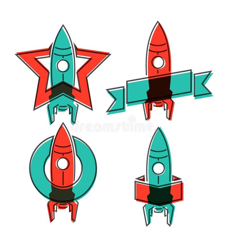 Símbolos del cohete de espacio ilustración del vector