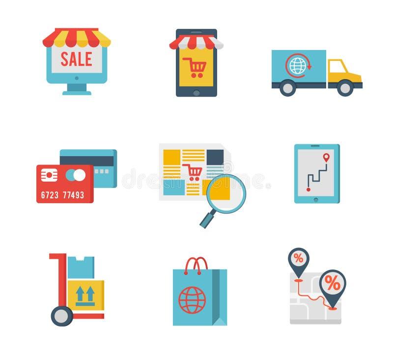 Símbolos del comercio electrónico y elementos de las compras de Internet ilustración del vector