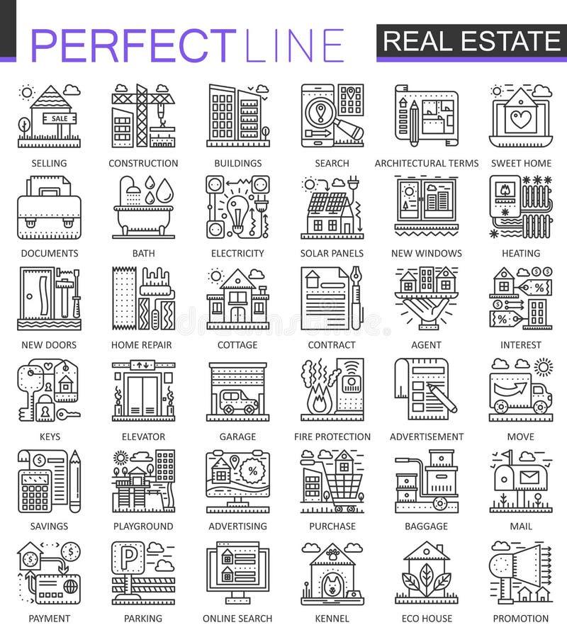 Símbolos del concepto de Real Estate Línea fina perfecta iconos Ejemplos lineares del estilo del movimiento moderno fijados stock de ilustración