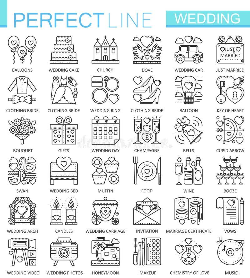 Símbolos del concepto del esquema de la boda Línea fina perfecta iconos Ejemplos lineares modernos del estilo del movimiento fija ilustración del vector