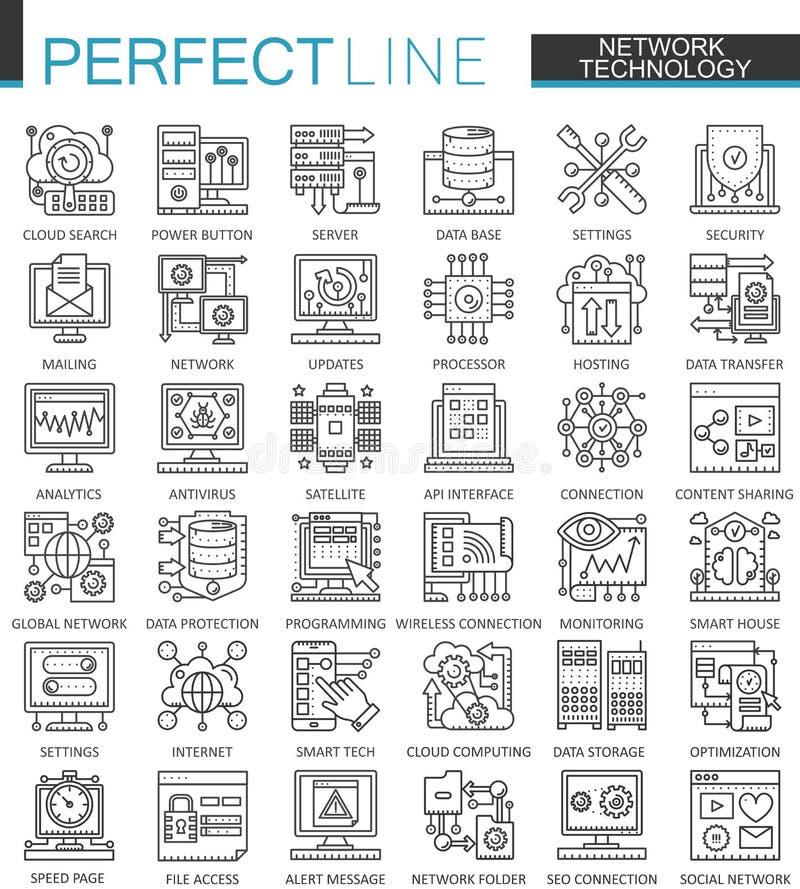 Símbolos del concepto del esquema de la tecnología de red Línea fina perfecta iconos Ejemplos lineares del estilo del movimiento  stock de ilustración