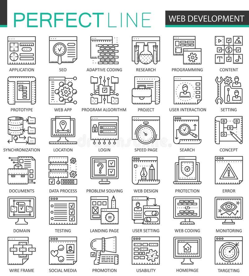 Símbolos del concepto del esquema del desarrollo web Línea fina perfecta iconos Ejemplos lineares del estilo del movimiento de SE stock de ilustración