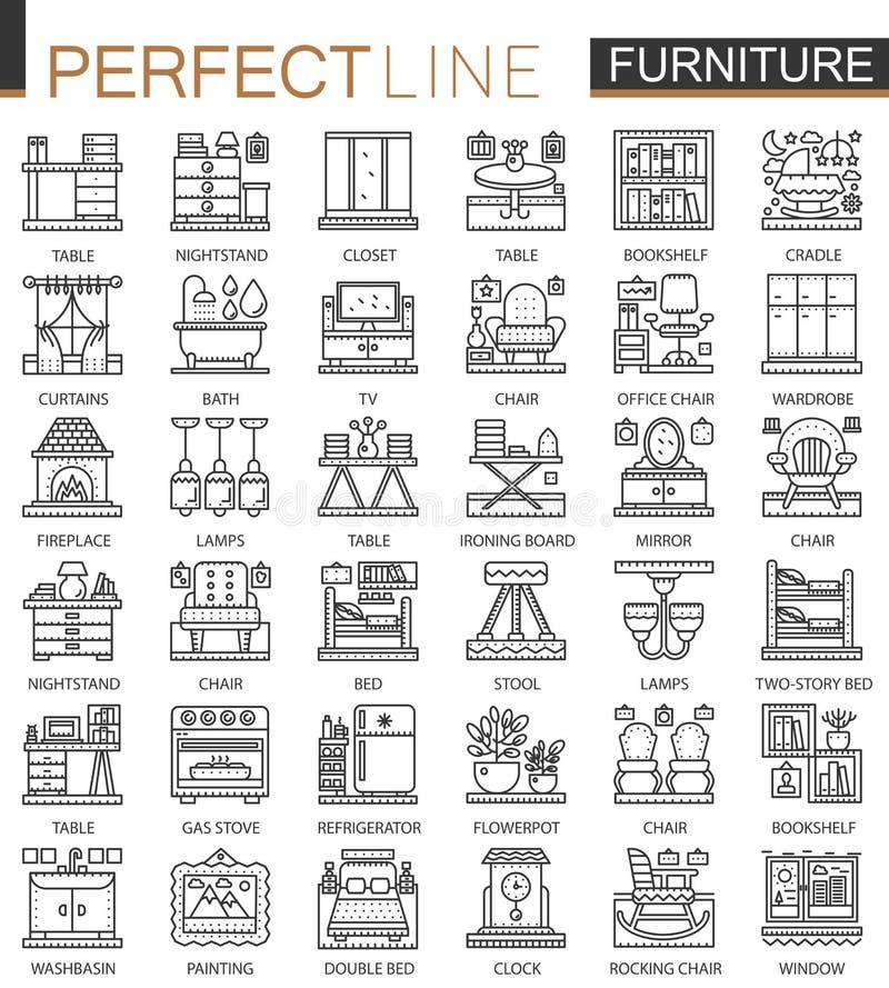 Símbolos del concepto del esquema de los muebles mini Ejemplos lineares del estilo del movimiento moderno interior de los muebles libre illustration