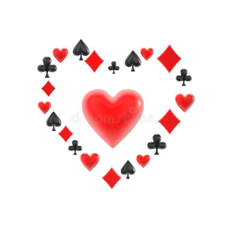símbolos del corazón del juego del póker imagen de archivo