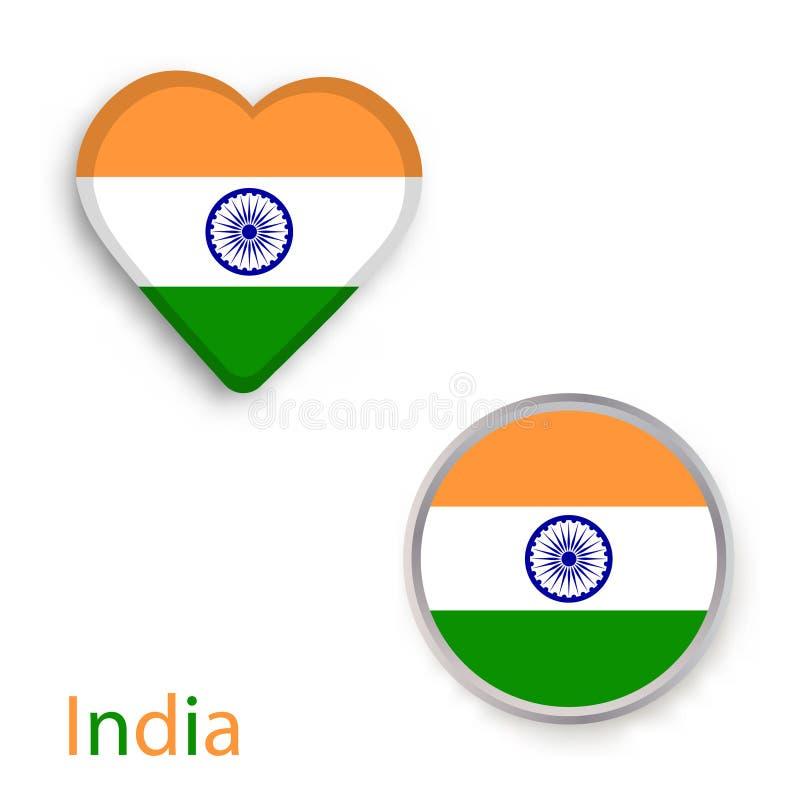 Símbolos del corazón y del círculo con la bandera de la India ilustración del vector