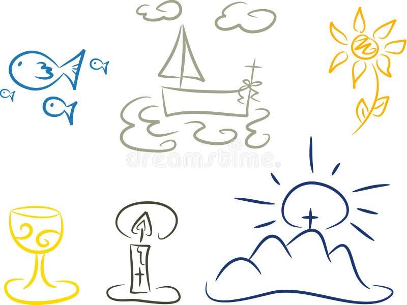 Símbolos del cristianismo ilustración del vector