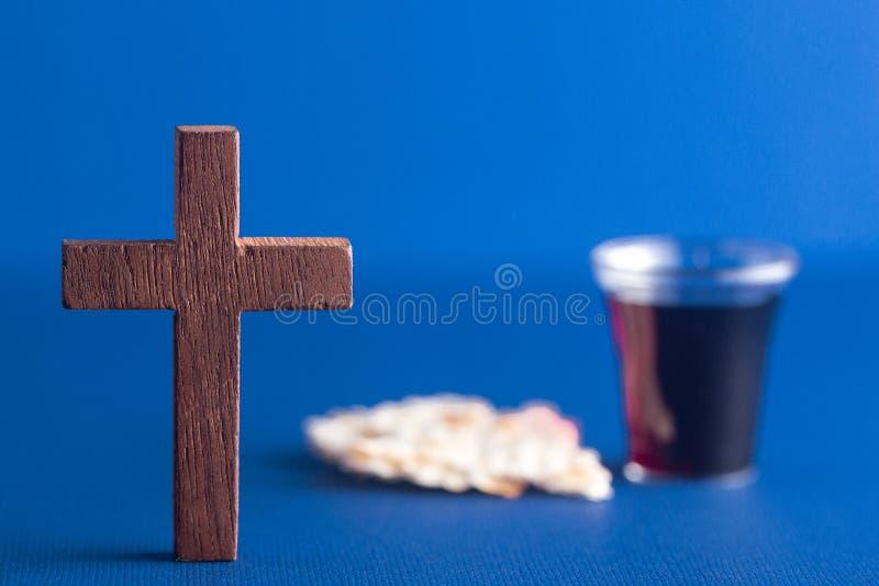 Símbolos del cristianismo y de la comunión fotos de archivo libres de regalías