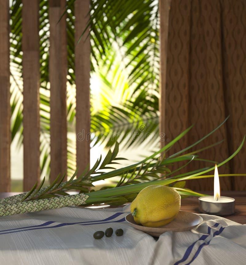 Símbolos del día de fiesta judío Sukkot con las hojas de palma y candleSymbols del día de fiesta judío Sukkot con las hojas de pa fotos de archivo libres de regalías