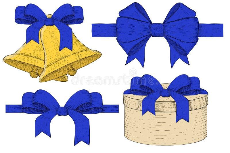 Símbolos del día de fiesta Las campanas de la Navidad, caja de regalo, cinta arquean Bosquejo drenado mano ilustración del vector