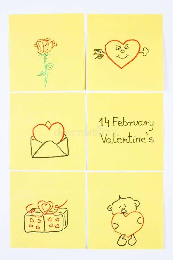 Símbolos del día de tarjetas del día de San Valentín dibujados en el papel, símbolo del amor imagen de archivo