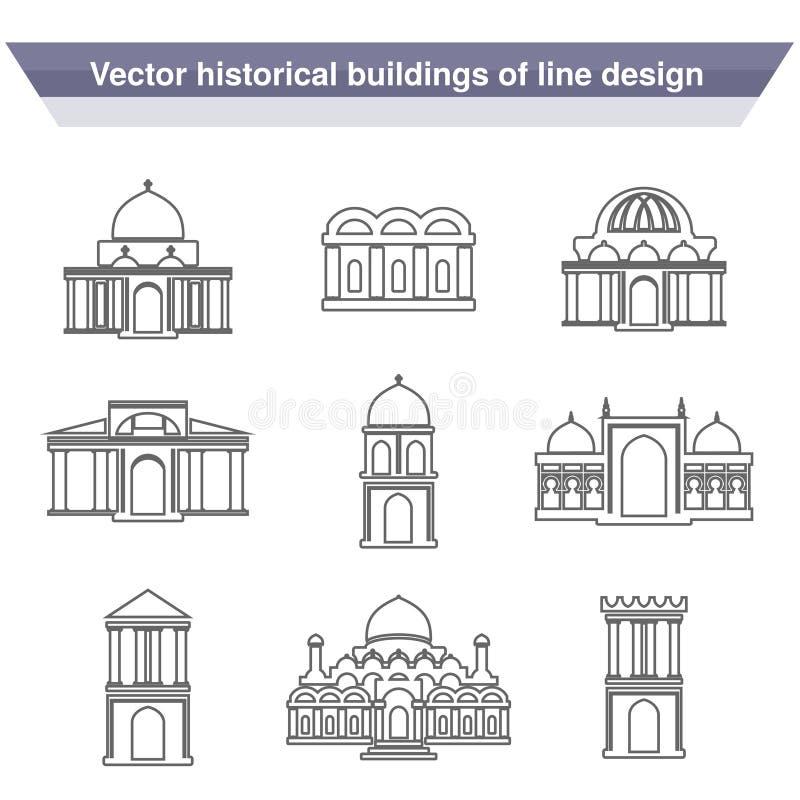 Símbolos del edificio de la arquitectura, edificio histórico, línea negra icono de templo simple ilustración del vector