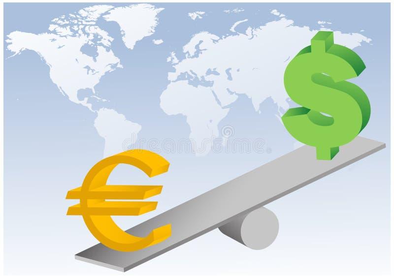 Símbolos del euro y del dólar en la ilustración del balancín ilustración del vector