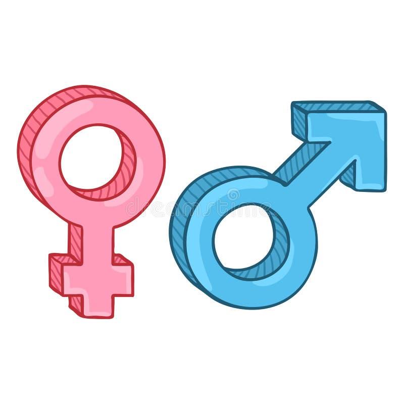 Símbolos del género de la historieta del color del vector Varón azul y muestras femeninas rosadas ilustración del vector